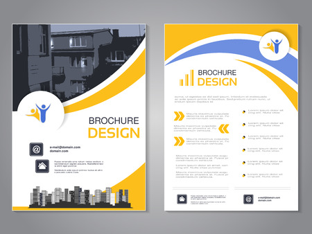 Vector modern brochure design, abstract flyer with background of houses. Layout template with city. Poster of blue, yellow and white color. Magazine cover. - illustration