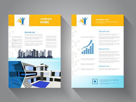 Vector modern brochure, abstract flyer with background of buildings. Modern house. City scene. Layout template. Poster of blue, yellow and white color. Magazine cover. - illustration
