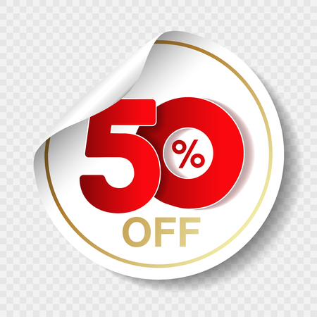 Vector special sale offer. White tag with red 50 off. Discount offer price label. Circular sticker, coupon.