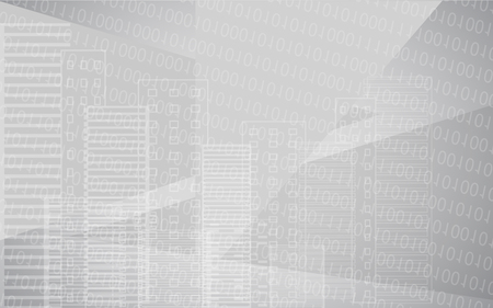 Vector white grey city background with buildings. City scene. Big skyscrapers panorama with binary code. Technology design. Ilustracja