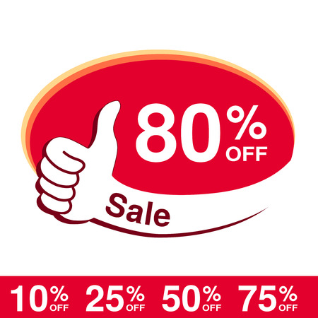 Vector special sale offer. Red tag with best choice. Discount offer price label with hand gesture. Sticker of 80 off. 일러스트