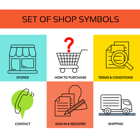 Vector shop symbols, navigation - stores, how to purchase, terms and conditions, contact us, sign in and register, shipping.