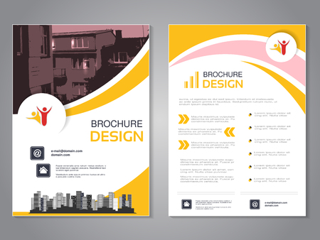 Vector modern brochure design, abstract flyer with background of houses. Layout template with city. Poster of pink, yellow and white color. Magazine cover. Ilustracja