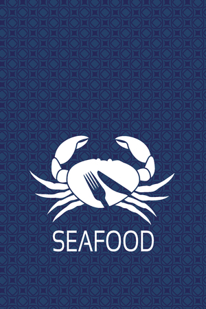 Vector menu label with silhouette of crab and symbol of knife, fork. Seafood symbols on blue background for product design or menu restaurant.