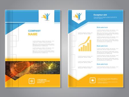 Vector modern brochure with triangle design, abstract flyer with technology background. Layout template. Poster of blue, yellow, red and white color. Magazine cover.