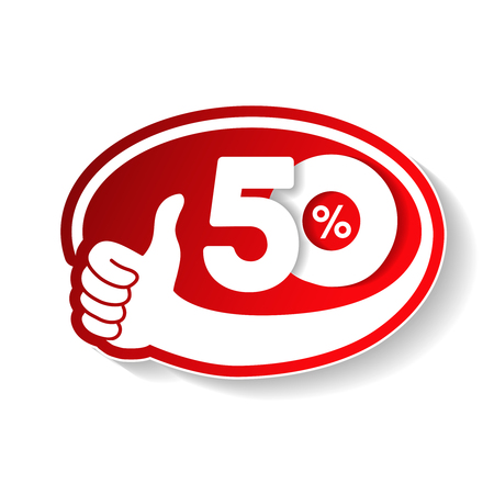 Vector special sale offer. Red tag with best choice. Discount offer price label with hand gesture. Sticker of 50 off.