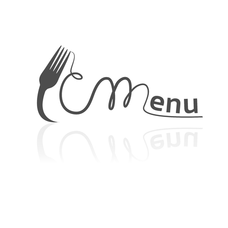 Vector fork with spaghetti forming the word menu. Black symbol for restaurant menu.