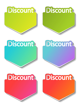 Vector discount banner design. Green, cyan, purple, red, pink and orange special offer banner. Sale offer. Discount label. Discount promotion tag. Ilustracja