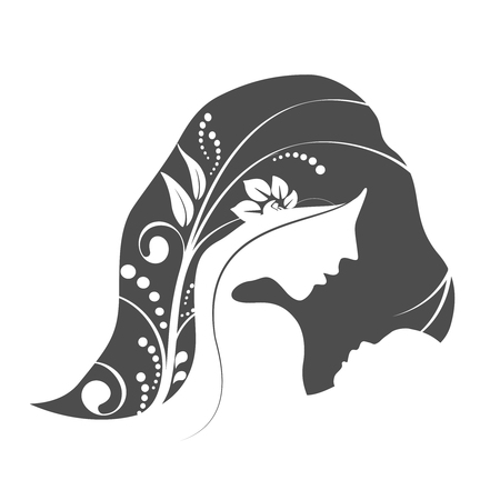Vector Happy Mothers Day. Greeting card with woman silhouette and baby silhouette. Floral background.