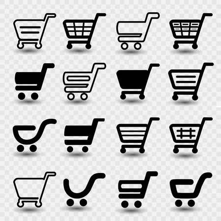 Vector simple shopping cart, trolley with shadow on transparent background, item, button.