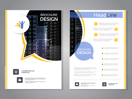 Vector modern brochure rounded design with bubble, abstract flyer with background of skyscrapers. Layout template with city. Poster of blue, yellow and white color. Magazine cover.