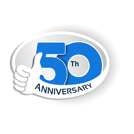 Vector 50 years anniversary, blue number with silver ribbon - thumb up, hand gesture, symbol of best choice. Ilustracja