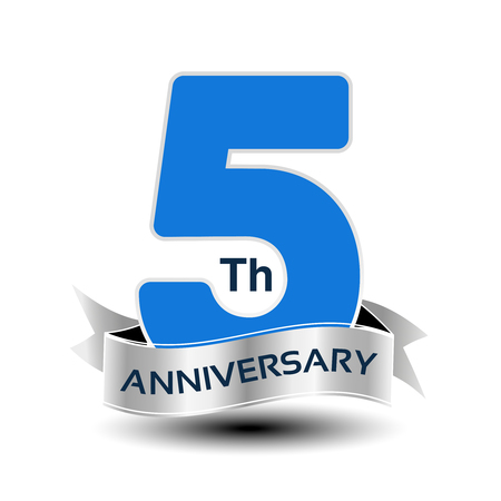 Vector 5 years anniversary, blue number with silver ribbon.