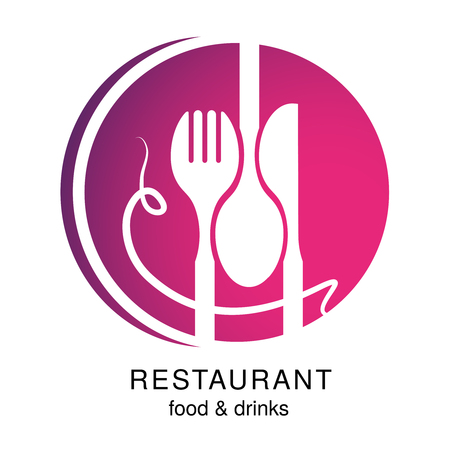 Vector knife, fork, spoon with spaghetti. Circular symbol for a restaurant menu marking a smiling human face, smiley.