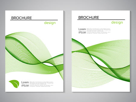 Vector natural brochure, design of nature, bio flyer with abstract wave design. Layout template with leaf. Aspect Ratio for A4 size. Eco poster of green and white color. Magazine cover.