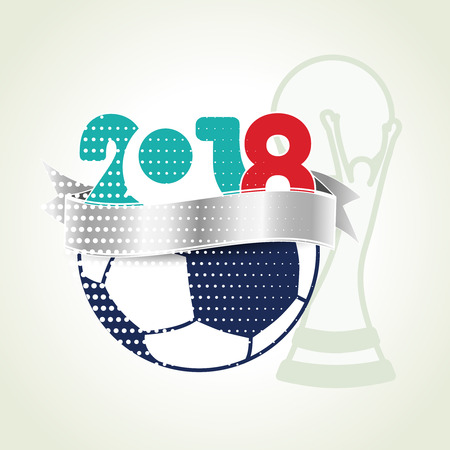 Vector graphic design of banner with soccer ball and winner trophy.