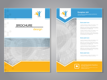 Vector modern brochure, abstract flyer with technology background. Layout template. Aspect Ratio for A4 size. Poster of blue, yellow and white color. Magazine cover. - illustration