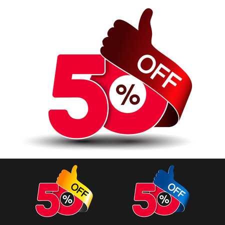 Vector special sale offer. Red tag with best choice. Discount offer price label with hand gesture. Sticker of 50 off. - illustration Ilustracja