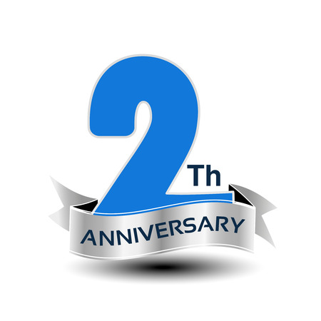 Vector 2 years anniversary, blue number with silver ribbon - illustration