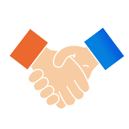 Vector handshake symbol for business and finance. Icon of partnership, successful. Gesture of hands. - illustration Ilustracja