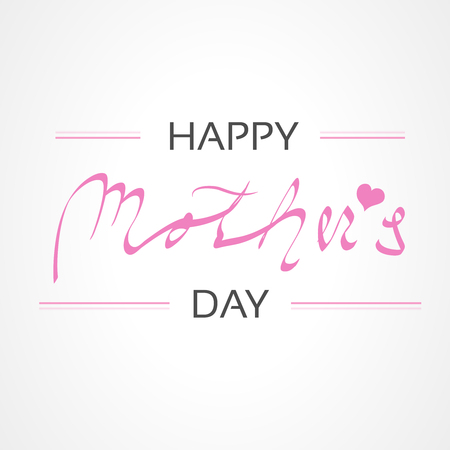 Vector Happy Mothers Day. Greeting card. Decoration text with heart. - illustration Ilustracja