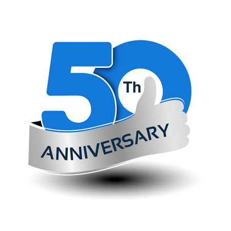 Vector 50 years anniversary, blue number with silver ribbon - thumb up, hand gesture, symbol of best choice - illustration