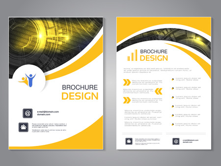 Vector modern brochure with wave design, abstract flyer with technology background. Layout template. Poster of black, yellow and white color. Magazine cover. - illustration Ilustracja
