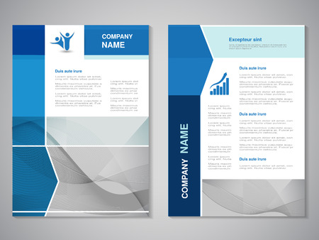 Vector brochure, abstract design, flyer with wave design. Layout line template. Aspect Ratio for A4 size. Poster of blue, grey and white color. Magazine cover. - illustration Ilustracja