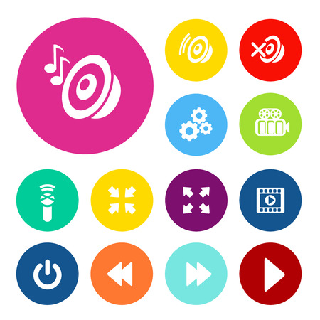 Vector sound and play buttons. Audio and video navigation menu items. - illustration Ilustracja