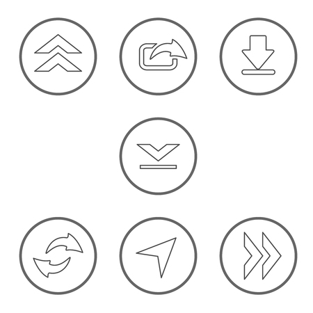 Vector set of shared arrows with circle button. Communication icons of download, upload, share for mobile, smartphone. Line design for mobile apps. - illustration Ilustracja