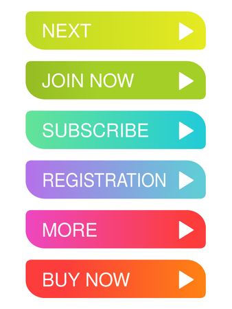 Vector colorful buttons with arrow - rectangle labels on the white background. Usable for a link