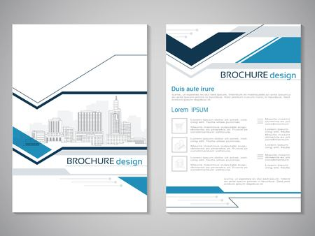Vector modern brochure, abstract flyer with background of buildings. City scene. Layout template. Aspect Ratio for A4 size. Poster of blue, grey, black and white color. Magazine cover. - illustration Ilustracja