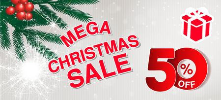 Vector christmas sale banner. Illustration for use website, brochure, flyer, poster and banner. Business background with 50  off, gift and tree branches. Red white - illustration
