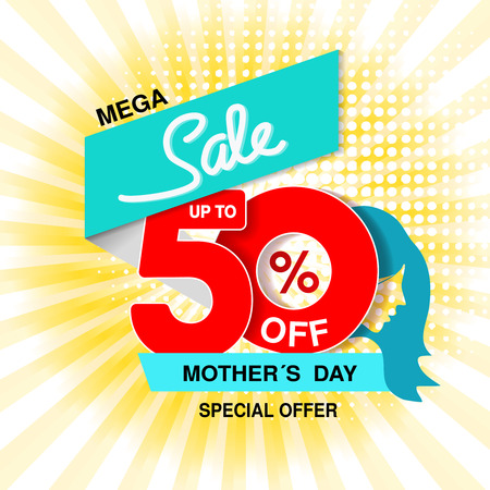 Vector Happy Mothers Day. Big sale banner. Mega sale, up to 50  off. Red blue special offer. Template design with silhouette of mother on yellow striped background. - illustration