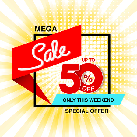 Vector big sale banner. Mega sale, up to 50  off. Red blue special offer only this weekend. Template design with black frame on yellow striped background. - illustration Ilustracja