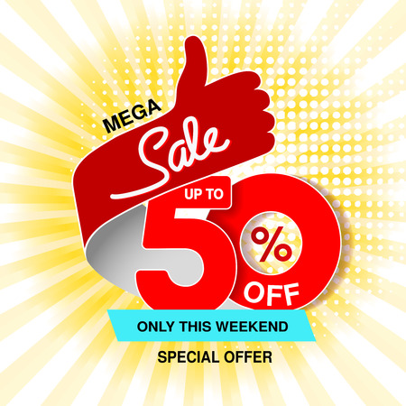 Vector big sale banner. Mega sale, up to 50  off. Red blue special offer only this weekend. Template design with best choice symbol on yellow striped background. Gesture of hand. - illustration