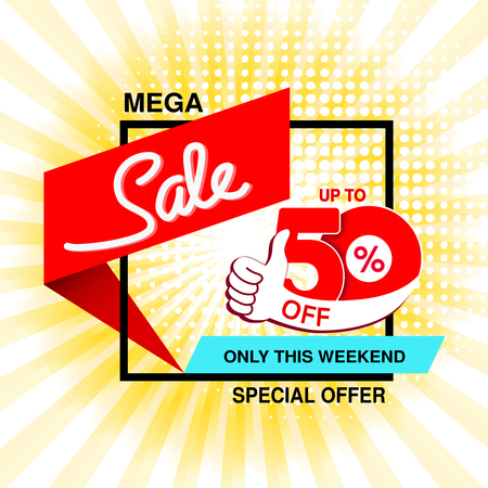 Vector big sale banner. Mega sale, up to 50  off. Red blue special offer only this weekend. Template design with best choice and with black frame on yellow striped background. Gesture of hand. - illustration