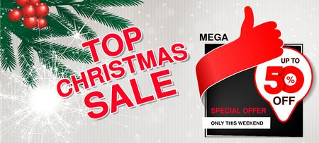 Vector christmas sale banner. Illustration for use website, brochure, flyer, poster and banner. Business background with 50  off, sparkler and tree branches. Red white design. - illustration Ilustracja