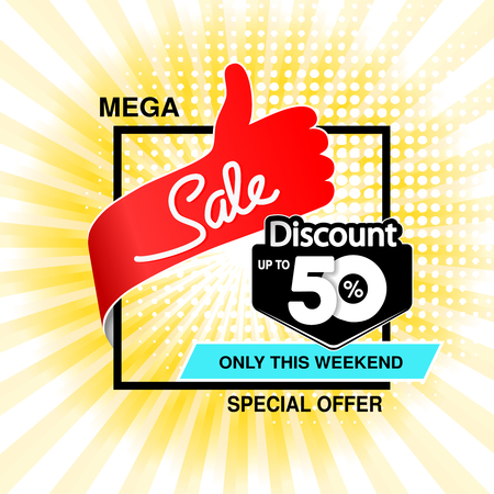 Vector big sale banner. Mega sale, up to 50  off. Red blue special offer only this weekend. Template design with best choice symbol on yellow striped background. Discount label. - illustration