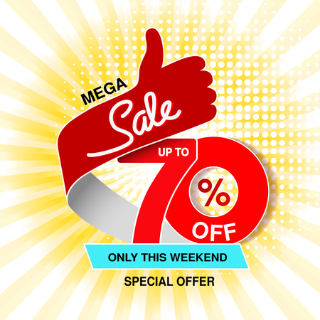 Vector big sale banner. Mega sale, up to 70  off. Red blue special offer only this weekend. Template design with best choice symbol on yellow striped background. Gesture of hand. - illustration Ilustracja