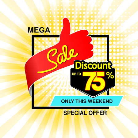 Vector big sale banner. Mega sale, up to 75  off. Red blue special offer only this weekend. Template design with best choice symbol on yellow striped background. Discount label. - illustration Ilustracja