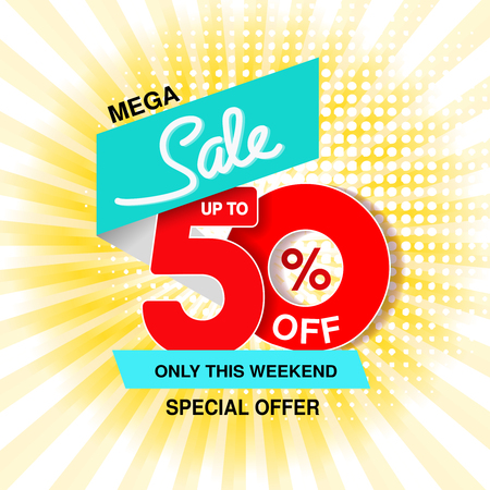 Vector big sale banner. Mega sale, up to 50  off. Red blue special offer only this weekend. Business template design on yellow striped background. - illustration Ilustracja