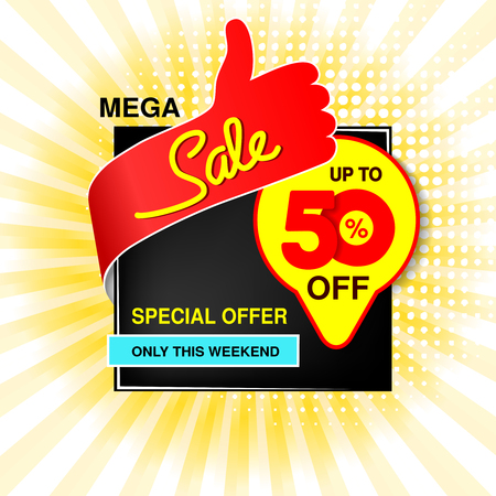 Vector big sale banner. Mega sale, up to 50  off. Red blue yellow special offer only this weekend. Template design with best choice symbol on yellow striped background. Discount label. - illustration