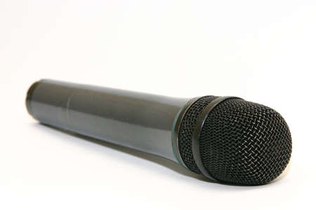 black microphone isolated on white background photo
