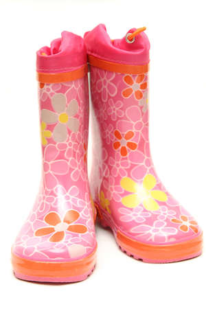 pink wellington boots isolated on white background Stock Photo - 819200