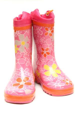 pink wellington boots isolated on white background Stock Photo - 819200