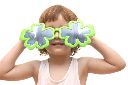 little girl, wearing funny, clover shaped, sunglasses, isolated on white Stock Photo - 956449