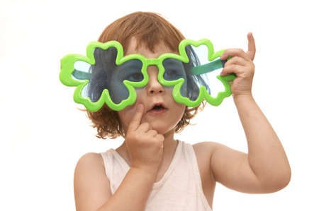 little girl, wearing funny, clover shaped, sunglasses, isolated on white Stock Photo - 956453