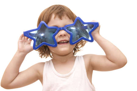 little girl, wearing funny, star shaped, sunglasses, isolated on white Stock Photo - 956455