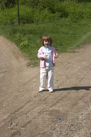 parting: little girl standing at the parting of the ways Stock Photo